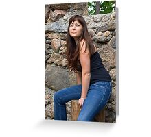 Beauty girl on the ruins. Greeting Card