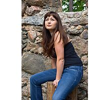 Beauty girl on the ruins. Photographic Print
