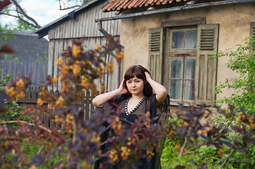 Beauty girl in garden. by fotorobs