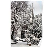 Ormskirk Parish Church During a Snowy Winter Poster