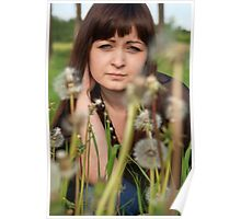 Portrait of beauty girl with dandelions. Poster