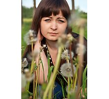 Portrait of beauty girl with dandelions. Photographic Print