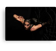 Black Widow springing from his spiderweb Canvas Print