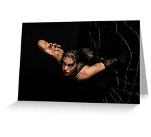 Black Widow springing from his spiderweb Greeting Card
