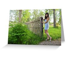 Rural scene with beauty girl. Greeting Card