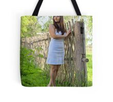 Rural scene with beauty girl. Tote Bag