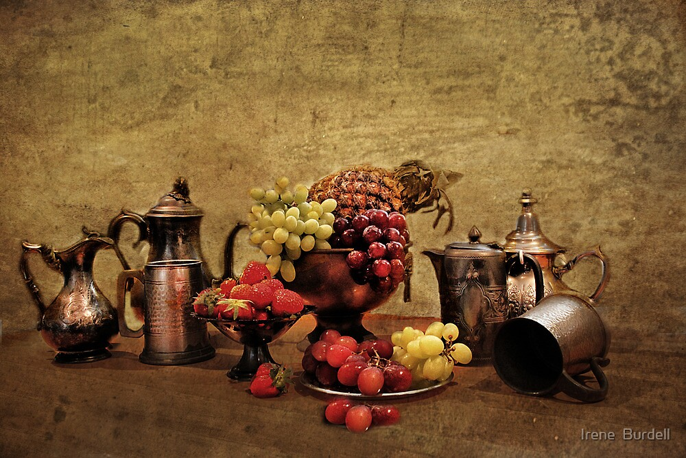 Pewter and Fruit. ! by Irene  Burdell
