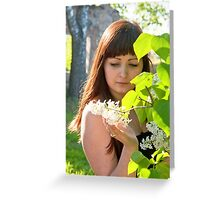 Beauty girl in lilac. Greeting Card