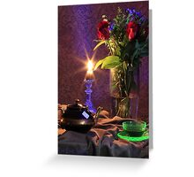 Blue Candle with flowers and green tea cup (still life) Greeting Card