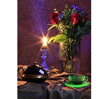 Blue Candle with flowers and green tea cup (still life) Photographic Print