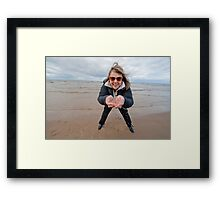 Adult woman at the sea Framed Print