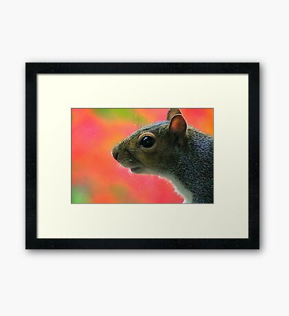 A Pose with Autumn Background Framed Print