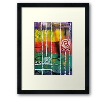 White Lines and Spirals Framed Print