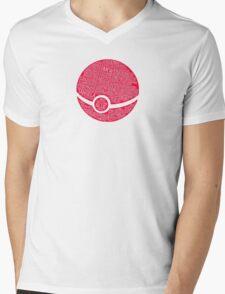 Typography Pokeball Mens V-Neck T-Shirt