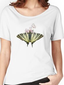 Scarce Swallowtail On Wild Garlic Flowers Vector Isolated Women's Relaxed Fit T-Shirt