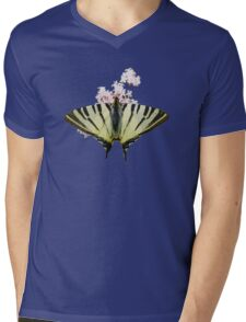 Scarce Swallowtail On Wild Garlic Flowers Vector Isolated Mens V-Neck T-Shirt