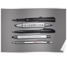 Pro Graphic Design Pens (Grey) Poster