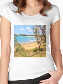 Peaceful Bay through the trees Women's Fitted Scoop T-Shirt