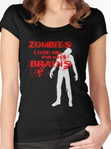 Zombies love Brains Women's Fitted Scoop T-Shirt