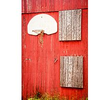 """Farm League"" - basketball hoop on farm Photographic Print"