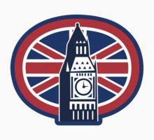 London Big Ben Clock Tower British Flag  by patrimonio