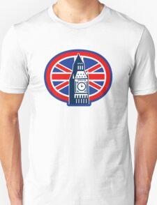 London Big Ben Clock Tower British Flag  T-Shirt