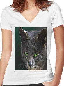 GREEN STARE Women's Fitted V-Neck T-Shirt