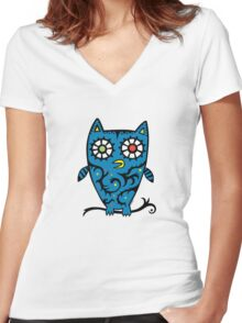 Tattoo Owl Women's Fitted V-Neck T-Shirt