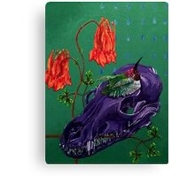 Amethyst Coyote Skull, Columbines and Hummingbird Canvas Print