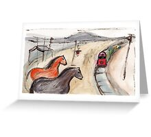 Horses at the Station Greeting Card