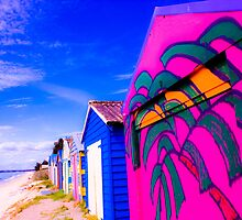 Vibrant Beach Huts,Victoria,Australia. by Marianne Ellis