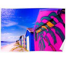 Vibrant Beach Huts,Victoria,Australia. Poster