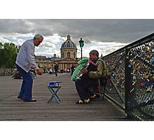 Busking on the Pont des Arts, Paris Photographic Print