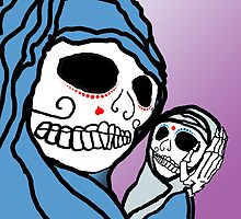 Calavera scene with Madonna and Child... by motherhenna