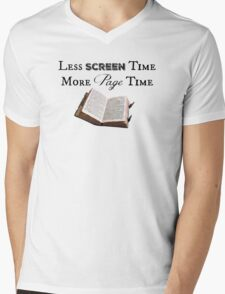 Less Screen Time, More Page Time Mens V-Neck T-Shirt
