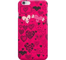 pink doodle hearts iphone case iPhone Case/Skin