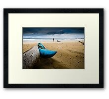 Blue boat at beach Framed Print