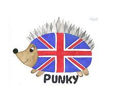 Punky the Hedgehog Union Jack by Angie B