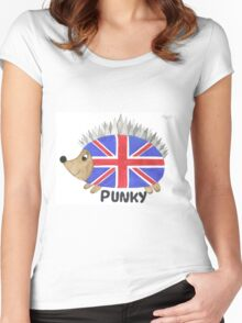 Punky the Hedgehog Union Jack Women's Fitted Scoop T-Shirt