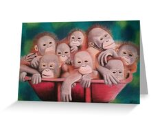 """Pastel and Charcoal Drawing Titled """"Orphans Of Palm Oil"""" Greeting Card"""