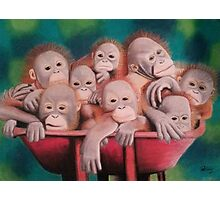 "Pastel and Charcoal Drawing Titled ""Orphans Of Palm Oil"" Photographic Print"