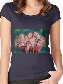 """Pastel and Charcoal Drawing Titled """"Orphans Of Palm Oil"""" Women's Fitted Scoop T-Shirt"""