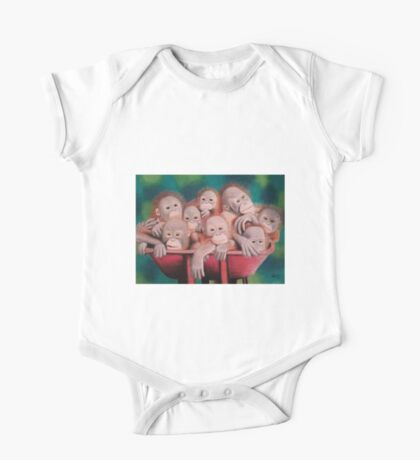 """Pastel and Charcoal Drawing Titled """"Orphans Of Palm Oil"""" One Piece - Short Sleeve"""
