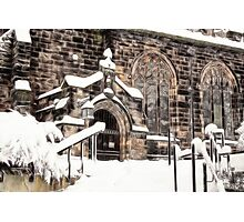 Ormskirk Parish Church During a Snowy Winter Photographic Print