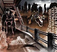 Man walking in a sci-fy city by Carlo-Velardi
