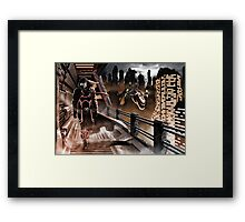 Man walking in a sci-fy city Framed Print