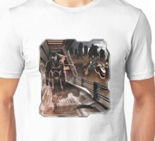 Man walking in a sci-fy city Unisex T-Shirt