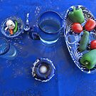 Blue Table with Talavera and Glass by PtoVallartaMex