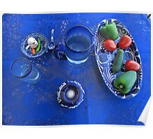 Blue Table with Talavera and Glass Poster