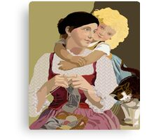 Mother and Daughter  Vintage Poster Art Canvas Print